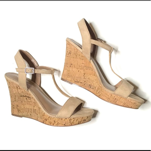 609021f1067d Charles David Shoes - CHARLES DAVID Suede T Strap Cork Wedge